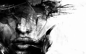 ABSTRACT BLACK AND WHITE FEMALE CANVAS PICTURE POSTER PRINT UNFRAMED #A389