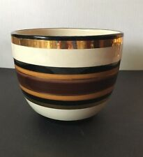 MCM Aldo Londi for Rosenthal Netter Italy Gold and Brown Ring Pottery Jardiniere