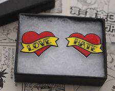 Amor Odio corazón Tatuaje pendientes-Rockabilly Vintage Tachas