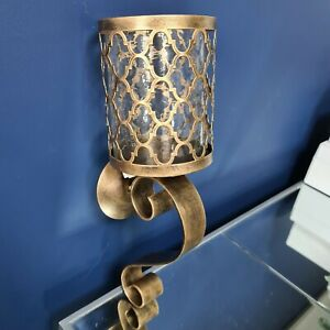 Antique Gold Lattice Hurricane Style Metal Glass Wall Lantern Candle Holder