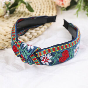 Boho Embroidery Headband for Women Knot Hairband Hair Hoop Accessories Headpiece