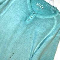 NWT Buckle Black No 48 T Shirt M Athletic Fit Aqua Distressed Faded Henley Mens
