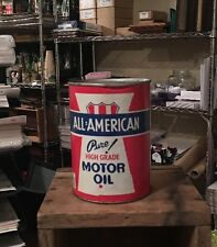 "Rare Vtg All American Motor Quart Can Penn Oil Creighton PA Red White Blue 5.5"""