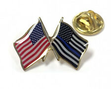 Crossed Lapel Pin - Made in Usa Thin Blue Line Law Enforcement & American Flag