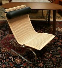 Poul Kjaerholm Lounge Chair Replica Rattan & Steel Rocker Leather Pillow