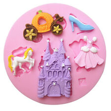 Cute Princess Castle Fairy Silicone Fondant Mould Icing Cake Decor Castle Dress
