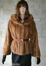 Genuine Pastel MINK Fur Cropped JACKET, Light Brown, size M, real fur