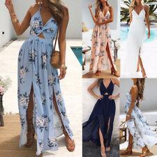 Sexy Women Summer Boho Long Maxi Dress Evening Party Dress Floral Beach Dress UK