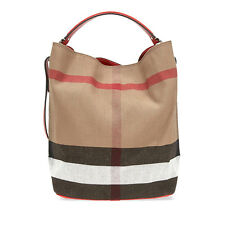 Burberry The Ashby Medium Canvas Check Tote - Cadmium Red