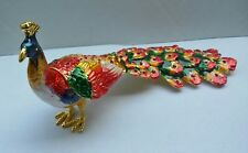 Peacock Trinket Box,Colorful Crystals, FengShui Hand Painted JewelryBox,Wedding
