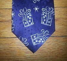 John Ashford Tie Silk Chalkline Present Design Navy Blue White NIB t3038