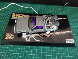 Built Painted & Lit Back To The Future DeLorean Time Machine On Custom Base