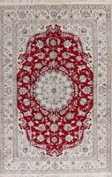 Decorative Floral Nain Oriental Area Rug Hand-Knotted Dining Room Carpet 7'x10'