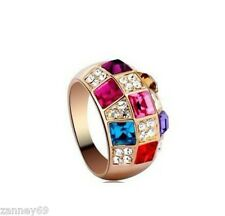 Yellow Gold Colorful Crystal Ring Size N 1/2 17.5mm