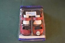 Robeez Tredz Red Black Velvet bow Mary Jane Baby Girls Shoes 16-20  month NIP