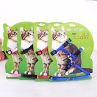 Adjustable Nylon Pet Dog Kitten Cat Collar Harness Belt Leash Traction Halter
