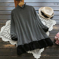 04f541d6399645 ZANZEA Women High Neck Long Sleeve Tops Shirt Lace Stripe Loose Tee Basic  Blouse