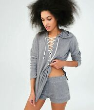 AEROPOSTALE Womens Grey Thick & Soft French Terry Lace Up HOODIE TOP Size M NWT