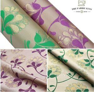 """Shimmer Brocade Jacquard Banarsi Fabric, Floral Vines William Morris 45"""" Sparkle"""