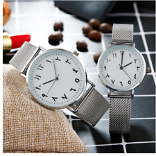 Womens Wrist Watch Arabic Numerals Silver Stainless Steel Quartz Movement Time