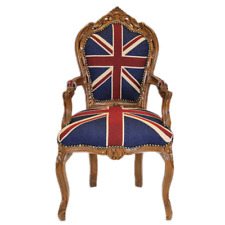 CHAIRS FRANCE BAROQUE STYLE DINING ROYAL CHAIR WITH ARMRESTS MAHOGANY/UK #70F31