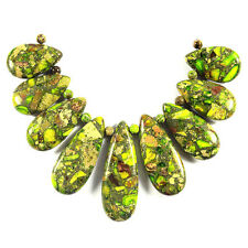 Lime green sea sediment jasper collier pendentif perle parure bijoux making supply