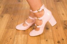 07966b221e3 Sexy River Island baby pink patent triple buckle mary jane dolly heels    Puckle