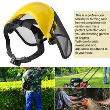 Chainsaw Forestry Brushcutter Safety Helmet Hat w/Full Face Metal Mesh Visor Cap