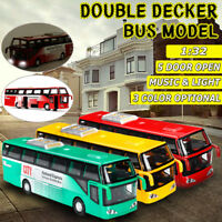 1:32 Double-decker City Bus Diecast Model Vehicles Toy Light & Sound Kids Gifts
