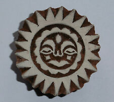 Sun God Shaped 5.3cm Indian Hand Carved Wooden Printing Block Stamp