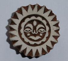 Sol Dios Moldeado 5.3cm Indio Tallado A Mano Madera Impresión Bloque Sello