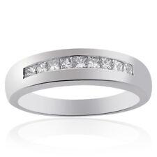 0.75 Carat Mens Princess Cut Diamond Wedding Band 14K White Gold