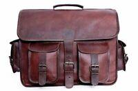 Mens Handmade Leather Vintage Laptop Shoulder Briefcase Messenger Bag Satchel