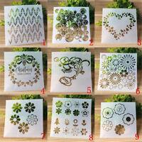 9pcs DIY Craft Xmas Layering Stencils Scrapbooking Stamp Album Decor Template
