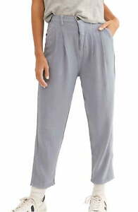 Free People Womens Faded Love Pants Blue Size 28 Pleated Carrot Trousers $78 190