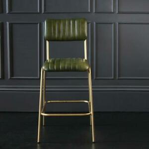 Diner Bar Stool Green Leather with Gold Base 95 x 50 x 43 cm Kitchen Industrial