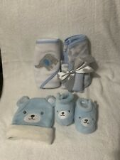 Baby Hooded Bath Towels - Washclothes - Bear Hat And Booties (New Born) 8 Pc Set