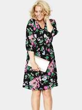 Very/So Fabulous Inspired Floral Print Wrap Slevees Lined  Dress 28 Black/Multi