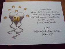 Golden Wedding Anniversary Invitations Personalised 5pk Balloons