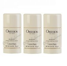 PACK OF 3 CALVIN KLEIN OBSESSION DEODORANT STICK FOR MEN 2.6oz 75g each * SAVE !