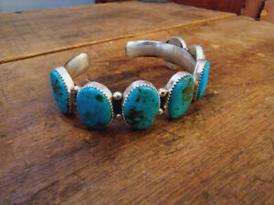 Navajo Kingman Turquoise Row Cuff Bracelet Sterling Silver Signed Native