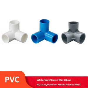 PVC 3-Way Elbow 20,25,32,40,50mm Solvent Weld Pipe Fitting White/Grey/Blue