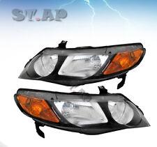 Fit 06-11 Honda Civic 4 Door Pair Headlight Black Housing  Amber Reflector Lamp