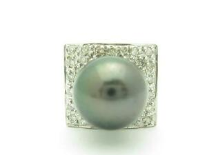 14k White Gold & Diamonds Black Tahitian Pearl Pave Halo Design Tie Tack Gift