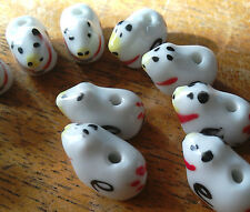 12 Porcelain Animal Beads, White/Black/Red, 7 mm. Jewellery/Charm Bead/Crafts