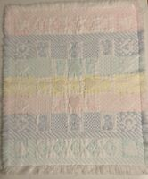 Vintage Pastel Woven Tapestry Fringe Baby Blanket Throw Teddy Bunny Hearts 123