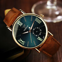 Fashion Men's Date Leather Stainless Steel Sport Quartz Noctilucent Wristwatch F