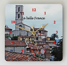 NEW 19cm French Wall Clock - Vintage Grasse Provence Wooden Clock Village Scene