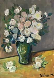 A4 Print of Original oil painting art flowers floral white roses shabby chic
