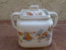 Antique White Ceramic Sugar Bowl? 2 Handles Transfer Ware Blue Flowers Leaves Ct